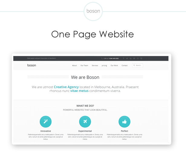 boson one page wordpress theme