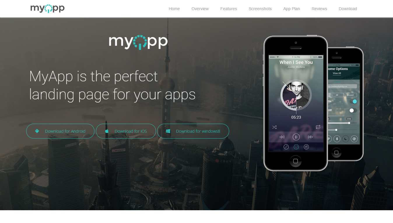 MyApp | One Page Parallax HTML5 Responsive App Landing Template