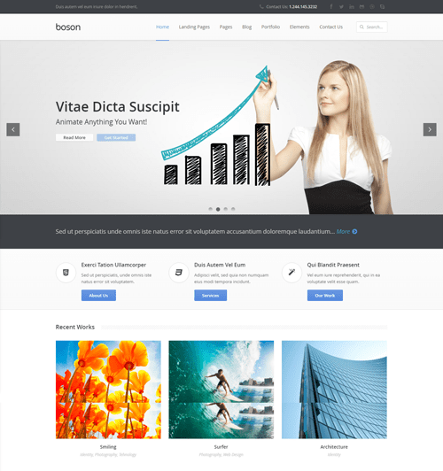 boson business wordpress theme with page builder
