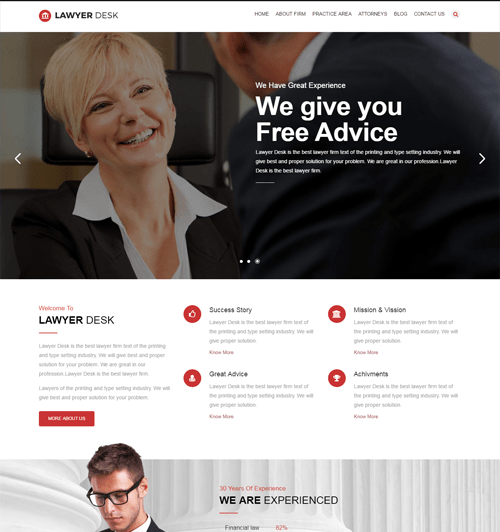 lawyerdesk attorney bootstrap template