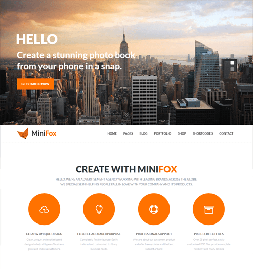 minifox onepage and multipage html template