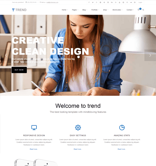 Trend html template with page builder